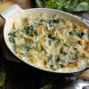 Gratin de ravioles de Royans aux épinards, lardons et comté