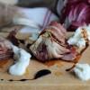 Trévise rôtie au vinaigre balsamique, lard et bufala