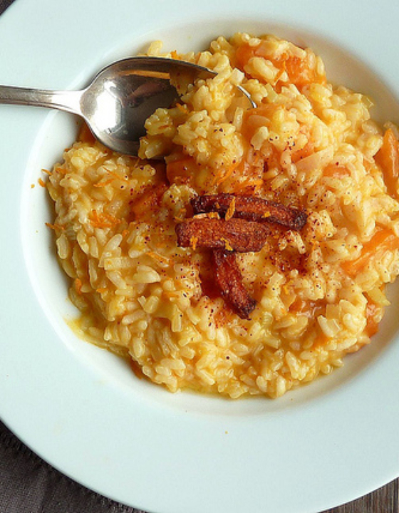Risotto de potimarron rôti au four et à l'orange