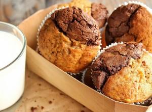 Muffins bicolores chocolat et banane à la vergeoise
