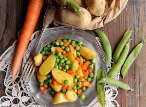 Petits pois carotte et pommes de terre