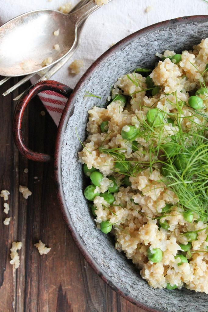 risotto de quinoa aux petits pois et fenouil vegan aime mange. Black Bedroom Furniture Sets. Home Design Ideas