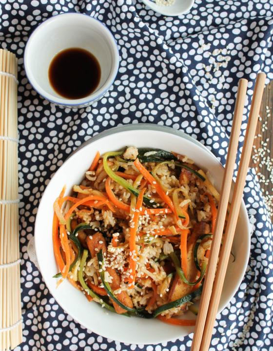 Riz frit aux légumes et au tofu {vegan- sans gluten}