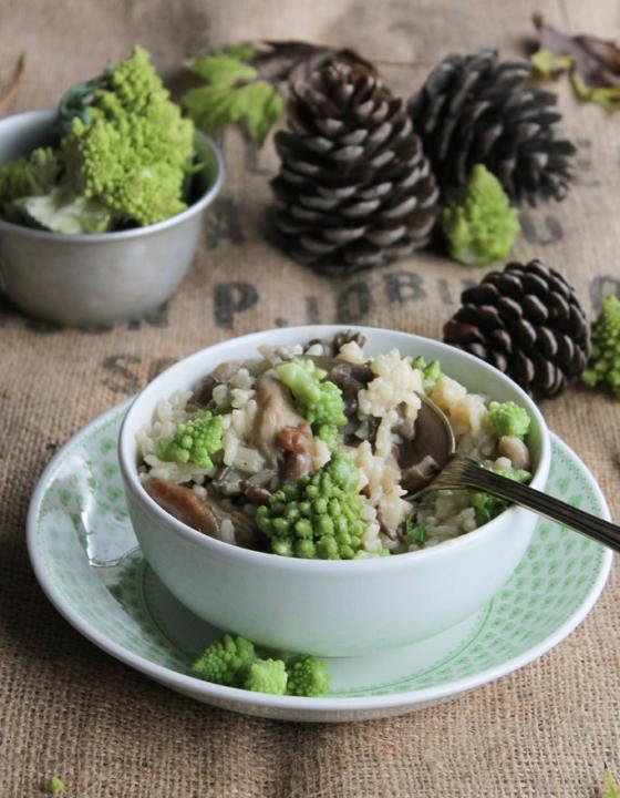 Risotto aux pleurotes et chou romanesco {sans gluten – vegan}