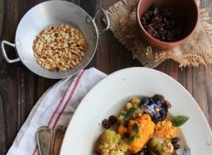 Salade de chou-fleur, menthe et pignons