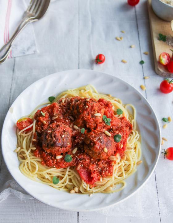 Spaghetti boulette vegan