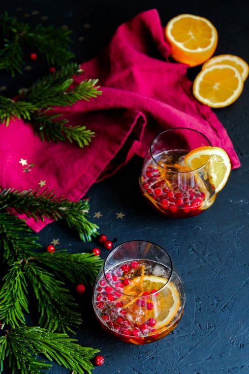Cocktail de Noël aux airelles et à l