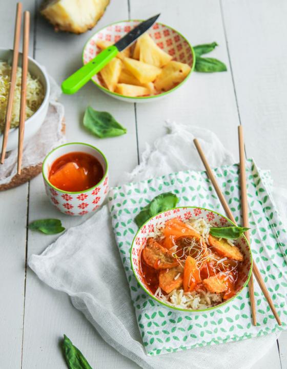 Tempeh sauce aigre douce à l'ananas {vegan – sans gluten}