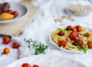 recette de Spaghettis aux tomates rôties
