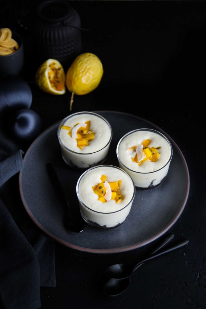 Mousse passion, mangue et spéculoos {Noël vegan}