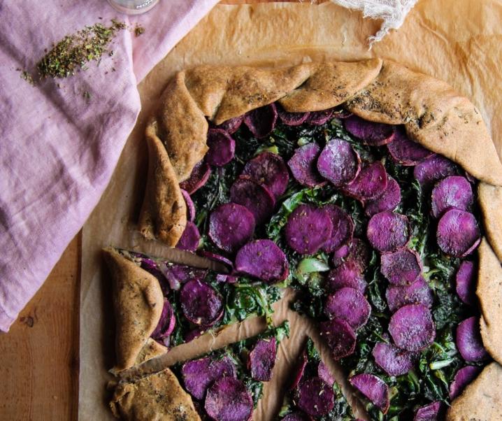 Tarte rustique patate douce et blettes {vegan – sans gluten}
