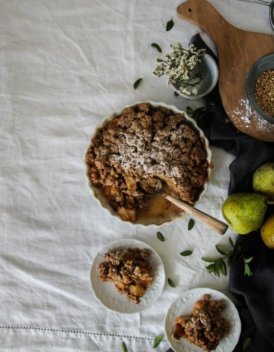 Crumble aux poires {vegan – sans gluten}