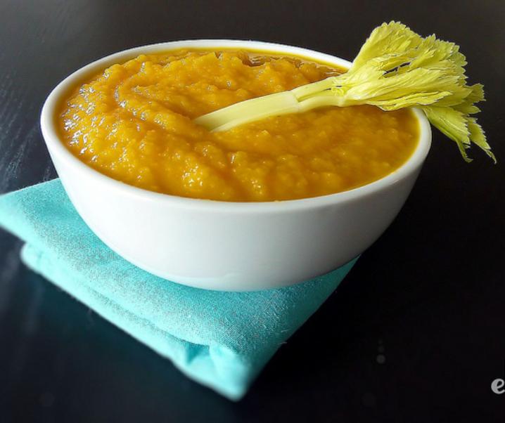 Soupe carotte, cèleri et pomme verte
