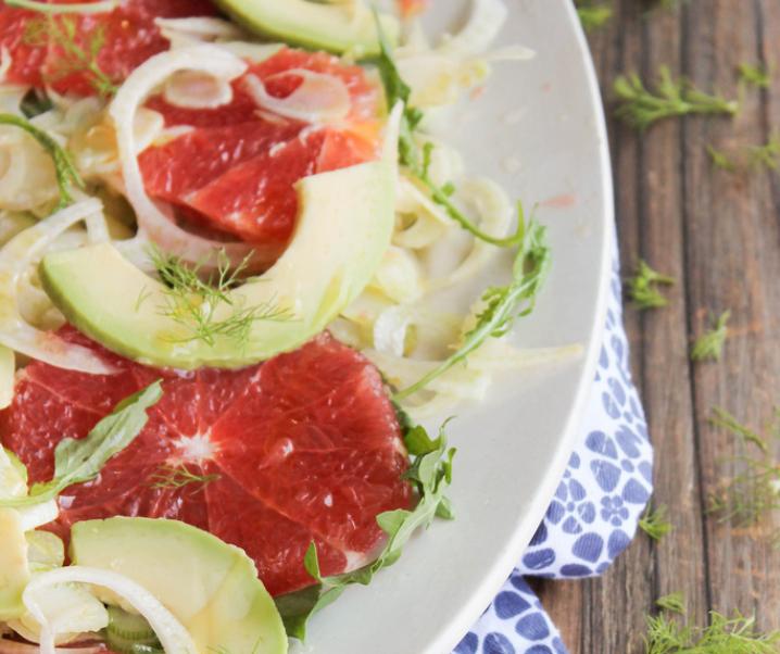 Grapefruit Salad, advocaat, venkel en rucola