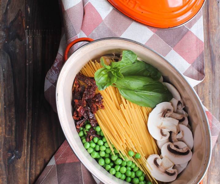 One pot pasta champignons et petits-pois {vegan}