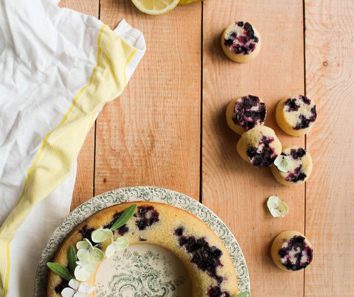 Gâteau au citron et aux myrtilles {sans gluten}