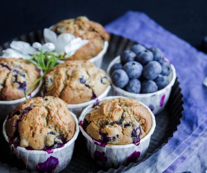 Muffins aux myrtilles {zonder melk}