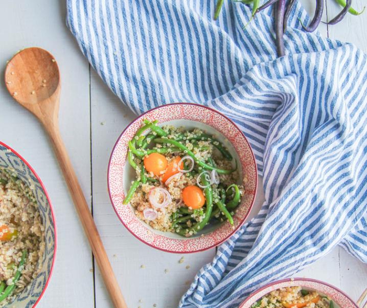 Green Bean Salad, quinoa en tomaten {glutenvrij – Vegan}