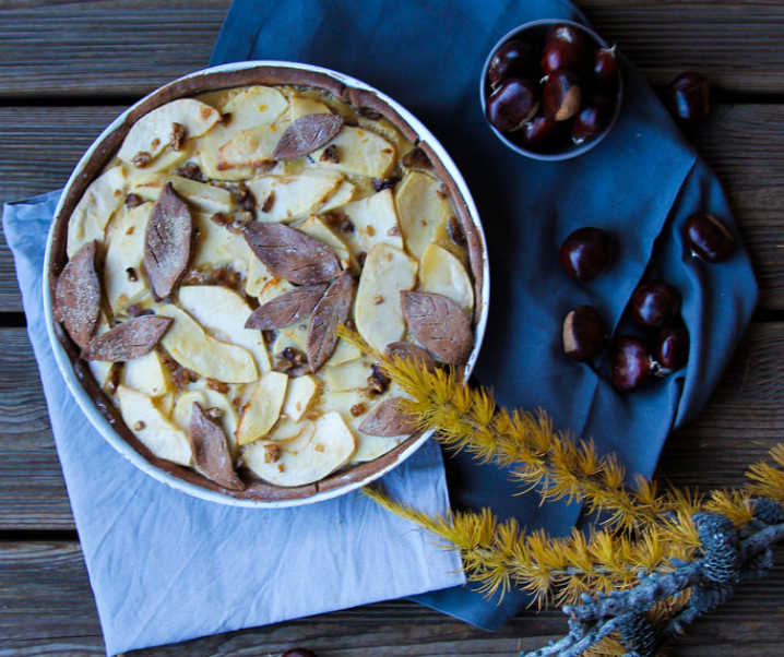 Tarte aux pommes et aux châtaignes {glutenvrij – zonder melk}