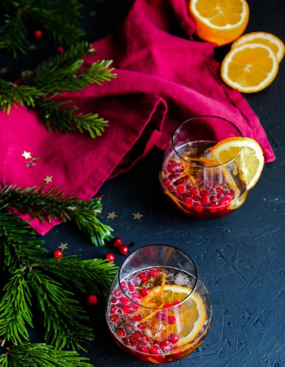 Cocktail de Noël aux airelles et à l'orange