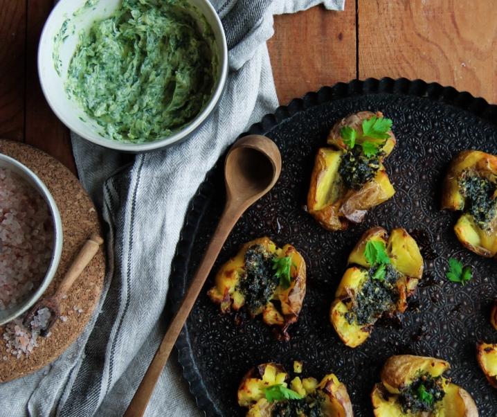 Pommes de terre écrasées croustillantes {vegan – sans gluten}