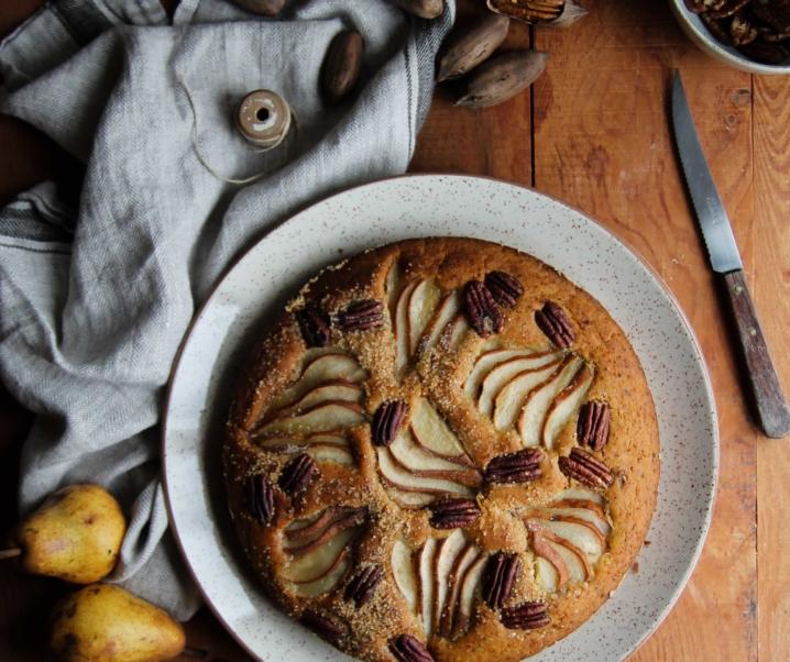 Gâteau aux poires et noix de pécans {vegan – sans gluten}