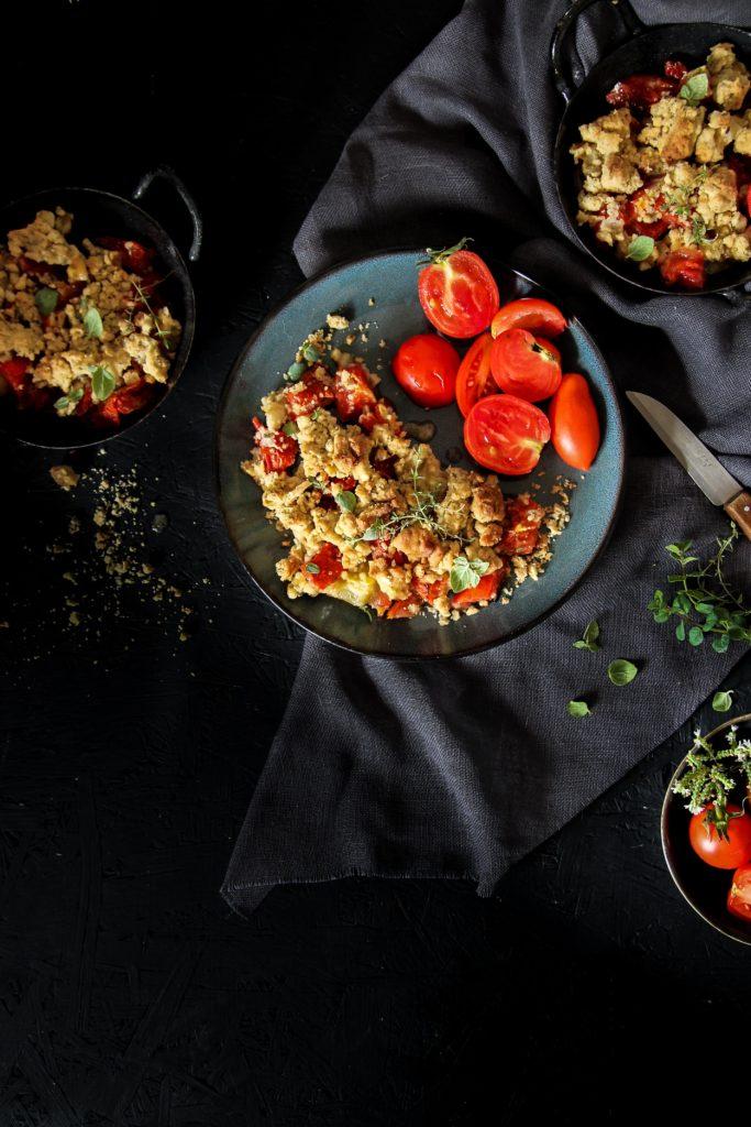 Crumble de tomates {vegan – sans gluten}