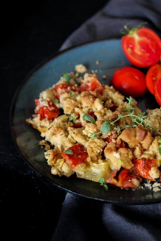 Crumble de tomates vegan