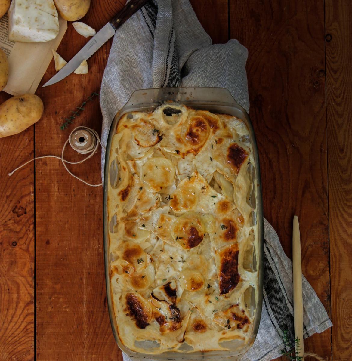 Gratin de pommes de terre et céleri {Vegan- glutenvrij}