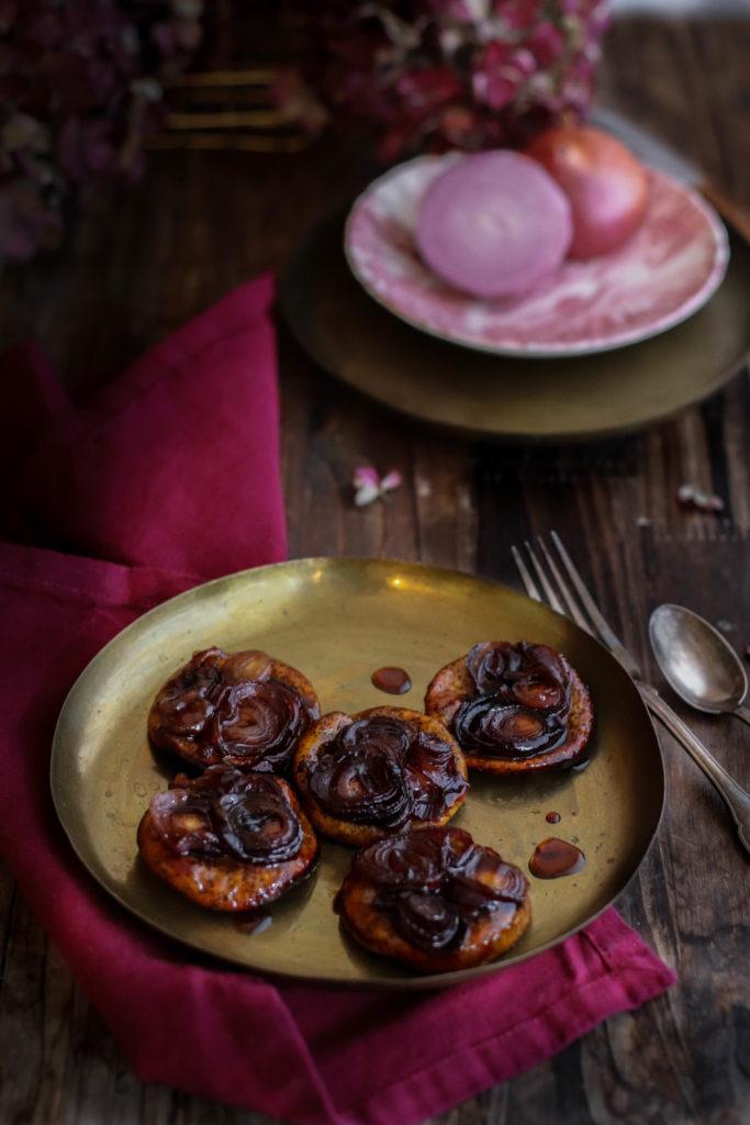 Tatins d'oignons rouges recette