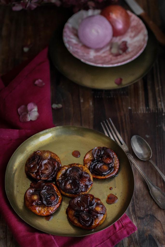 Tatins d'oignons rouges
