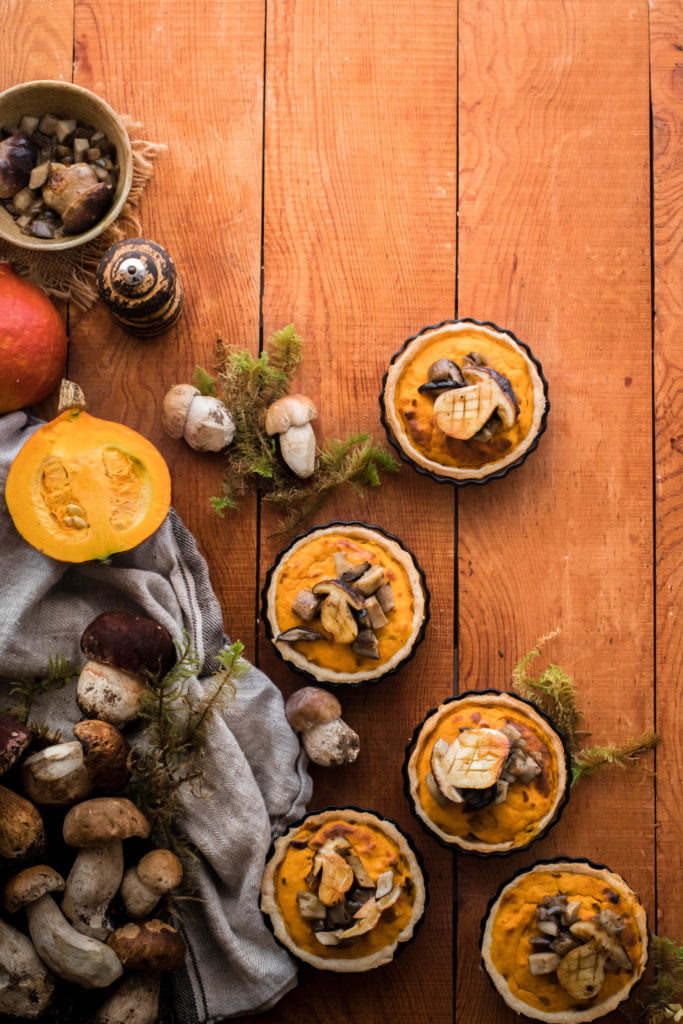 Tartelettes potimarron et cèpes {zonder melk}